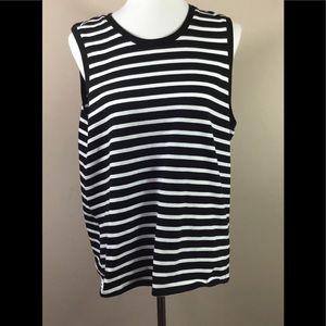 Banana Republic Sz XL Black Striped Sleeveless Top